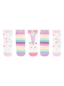 Girls Pink Unicorn Socks 5 Pack (0-24 months)
