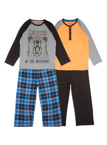 Multicoloured Two Pack Grizzly Pyjama Set (4-14 years)