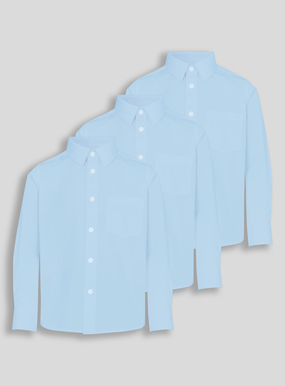 Blue Long-Sleeved School Shirts 3 Pack (3-12 years)