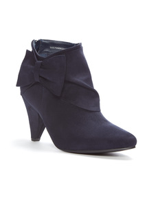Navy Cone Heel Ankle Boots