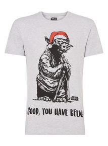 Grey Disney Star Wars Christmas Yoda Tee
