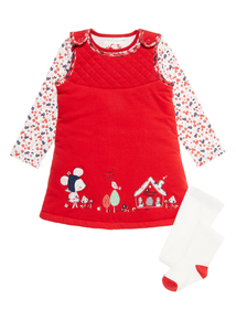 Girls Red Wadded Pinny Set (0-24 months)