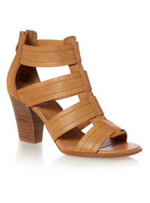 Caged Heeled PU Sandal