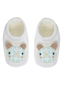 Unisex White Bear Face Booties (0-24 months)