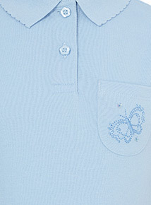 Blue Embroidered Pocket Polo Shirts 3 Pack (3-12 years)