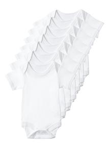 Unisex White Short Sleeved Bodysuits 7 Pack (0-24 months)