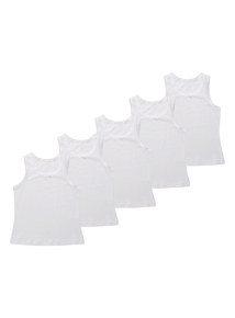 Girls White Wide Strap Vests 5 Pack (3-12 years)