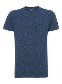 Blue Slub Feeder Stripe T-Shirt