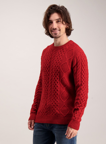 Red Cable Knit Crew Neck Jumper
