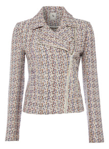 Multicoloured Textured Boucle Bomber