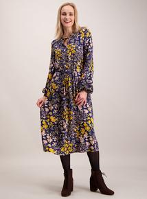 Multicoloured Floral Print Folk Dress