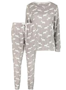 Christmas Grey Westie Dog Print Pyjamas