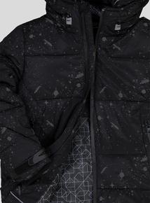 Black Paint Splatter Puffer Coat (3 - 14 Years)