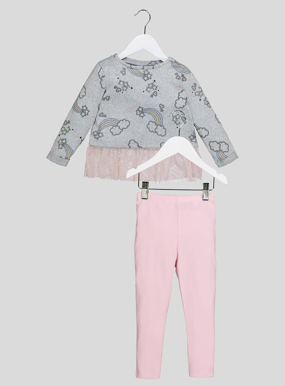 dc4f07b8851656 Kids Grey Rainbow Print Frill Top And Leggings Set (9 months-6 years) | Tu  clothing