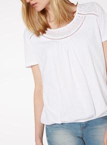 White Cutout Bubble T-Shirt