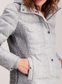 Grey Quilted Herringbone Print Jacket