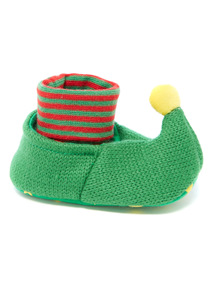 Green Christmas Elf Pop-On Booties (0-24 months)