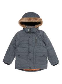 Boys Grey Fur Trim Hood Jacket (9 months-5 years)