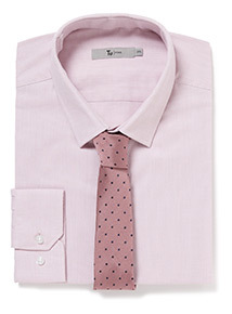 Pink Slim Fit Shirt and Spotted Tie Set
