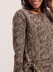 Beige Snake Print Textured Top