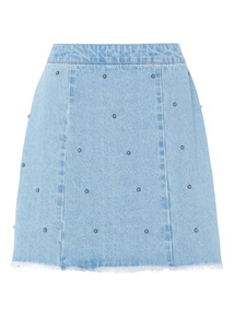 Denim Studded Mini Skirt