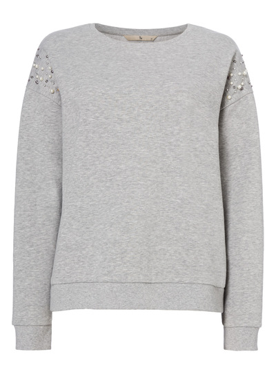 Grey Embellished Sleeve Sweater