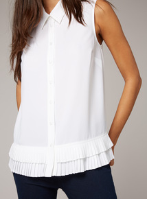 Premium Cream Pleated Hem Shirt