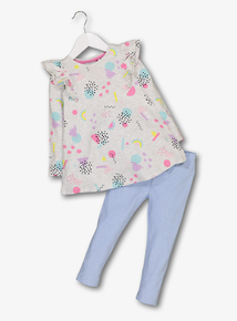 Multicoloured Pastel Print Tunic & Leggings Set (9 months - 6 years)