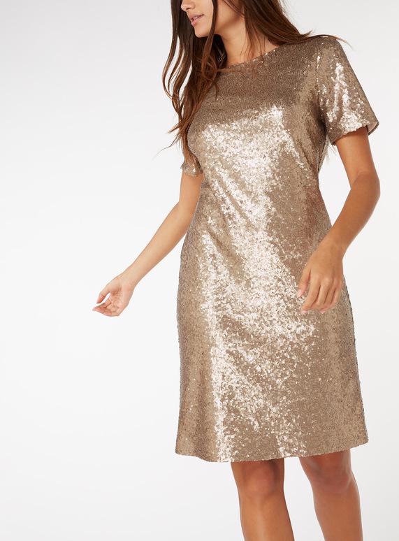 Online Exclusive Gold Sequin Dress
