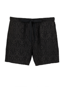 Black Lace Cut Detail Swim Shorts