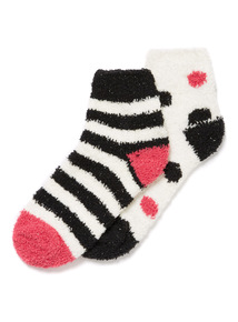 2 Pack Cosy Spot and Stripe Socks