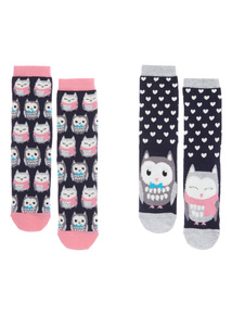 2 Pack Novelty Mirror Owl Socks