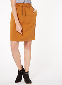 Online Exclusive Camel Tencel Skirt
