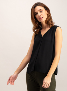 Black V-Neck Shell Top