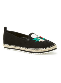 Black Slipper Cut Embroidered Espadrilles