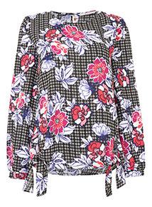 Multicoloured Floral Double Tie Hem Blouse