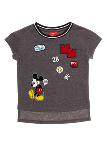 Grey Disney Mickey Badge Tee (3-12 years)