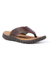 Sole Comfort  Brown Leather Flip Flops