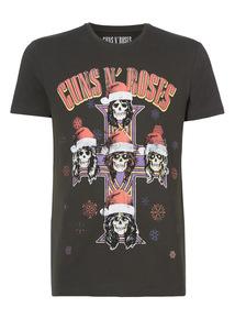 Black Christmas Guns And Roses Tee