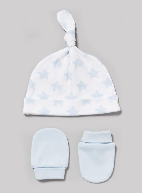 Baby Blue Scratch Mitt and Tie Top Hat Set (Newborn-12 months)  3c87ec2f5c7b