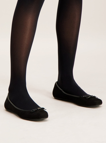 Black Square Toe Ballerina Pumps