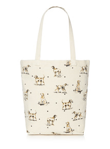 Tan Canvas Dog Shopper Bag