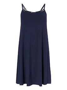 Online Exclusive Navy Lattice Trim Mini Dress