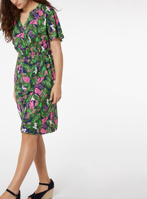Multicoloured Leaf Print Wrap Dress