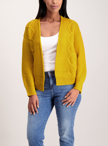 Mustard Cable Knit Cardigan