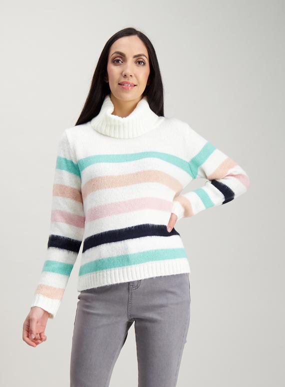 f056cb90f04974 Womens Cream Stripe Roll Neck Jumper | Tu clothing