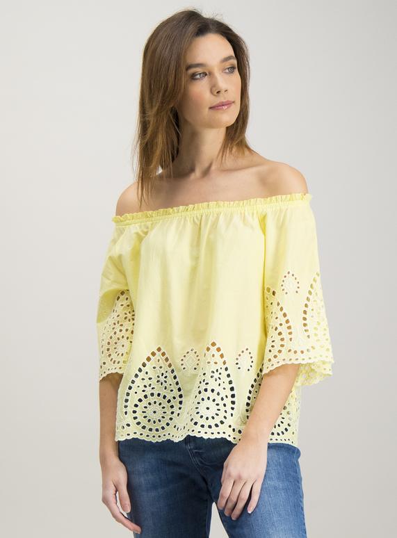 07dbf7edb93 Womens Online Exclusive Yellow Lace Detail Bardot Top   Tu clothing