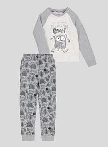Grey & Black Monster Pyjama Gift Set (age 18 months - 9 years)
