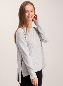 Grey Marl Knitted Long-sleeved Jumper