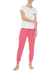 White Twist Neck Heart Embroidered Pyjamas
